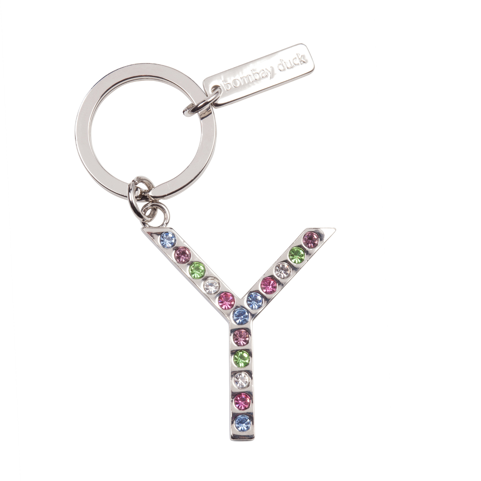 Image of Multicoloured Diamante Keyring Letter Y